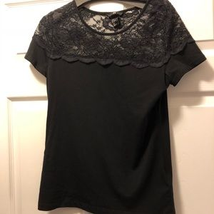 H&M Black Top With Lace Detail